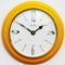 Metamec Pine Wall Clock with yellow lacquer finish.