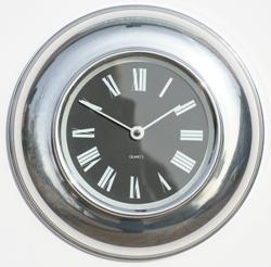 Metamec spun Aluminium clock with black Roman dial