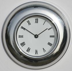 Metamec spun Aluminium Clock with white Roman dial