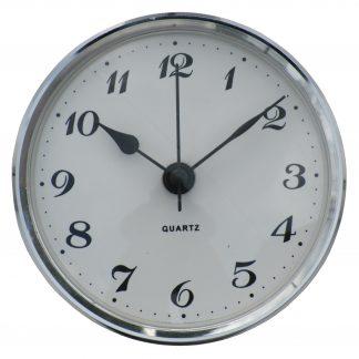 85mm Insertion Clock White Arabic Silver Bezel