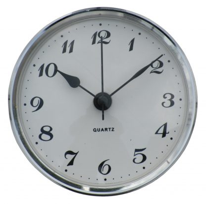 72mm Insertion Clock White Arabic Silver Bezel