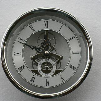 149mm Skeleton Clock in Silver.