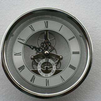 149mm flanged Skeleton Clock in Silver.